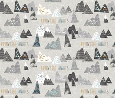 Max's Mountains (grey) fabric by nouveau_bohemian on Spoonflower - custom fabric