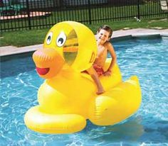 Giant Ducky by Swimline Don't try to fit this Inflatable Pool Toy into the bath tub! The Giant Ducky by Swimline is a large and fun Inflatable Pool Toys, Giant Inflatable, Inflatable Float, Swimming Pool Toys, My Pool, Pool Fun, Thing 1, Pool Floats, Lake Floats