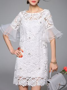 Frill Sleeve Casual Floral Pierced Crew Neck Mini Dress