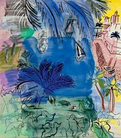 View Composition au port, palmier et feuilles d'arum By Raoul Dufy; Access more artwork lots and estimated & realized auction prices on MutualArt. Raoul Dufy, Manet, Renoir, Art Fauvisme, Maurice De Vlaminck, Henri Matisse, French Artists, Great Artists, Painting & Drawing
