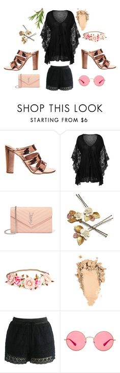 """""""Black beauty"""" by aquapillar on Polyvore featuring Yves Saint Laurent, Chicwish, Ray-Ban and black"""