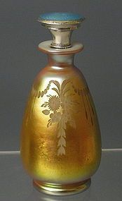 Frederick Carder Steuben Glass Aurene Perfume Bottle w/Silver and Enamel Stopper ♥≻★≺♥