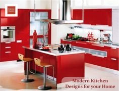 When it comes to contemporary kitchens, colored ones are very popular  This red-inspired kitchen looks very warm and organized. Red is associated with a more pleasant dining so its a perfect color choice for your modern kitchen