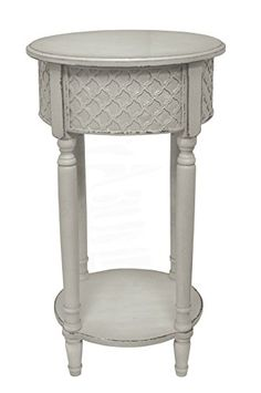 Shabby Chic Style Olivia Wood Accent Table with Distressed Cream Finish #SimplyAbundant #AccentTable #ShabbyChic