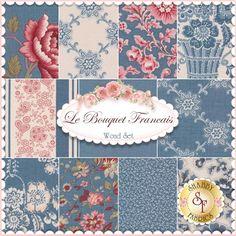 Le Bouquet Francais 11 FQ Set - Woad By French General For Moda Fabrics: Le Bouquet Francais by French General for Moda Fabrics. 100% cotton. This set contains 11 fat quarters, each measuring approximately 18