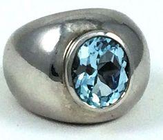 Sarda Silver Blue Designer Big Wide Silver Band Semi-Pressious Stone Size 7 Ring    eBay