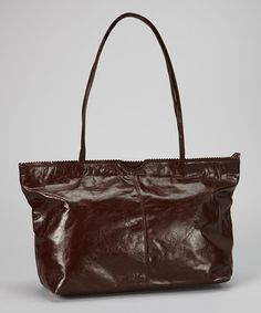 Take a look at this Brown East West Leather Tote by Latico Leather on #zulily today!