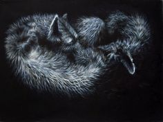 Rafal Borcz, Slippping, oil on canvas, painting, wolves, animals, wild animals, nature, modern art