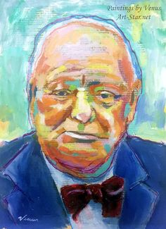 WINSTON CHURCHILL Original Painting Signed by PaintingsbyVenus #WinstonChurchill #art #painting