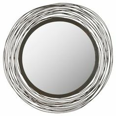 "Circular wall mirror with an abstract frame.   Product: Wall mirrorConstruction Material: Iron, engineered wood and mirrored glassColor: NaturalDimensions: 21"" Diameter"
