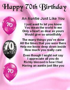 Fridge Magnet - Personalised Poem - Auntie Poem - 70th Birthday  + FREE GIFT BOX