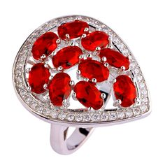 AAA CZ red garnet Silver  Plated Ring Size 7 8 9 10 Fashion plated Jewelry Gift Women wholesale