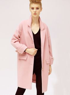 Pink Long Sleeve Lapel Oversized Cocoon Coat 43.79