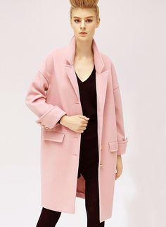 Pink Long Sleeve Lapel Oversized Cocoon Coat 43.79