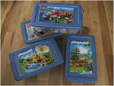 Playmobil storage idea make sleeves for instructions on outside of box. Act as label. Play Mobile, Lego Kits, Lego Building Plate, Legos, Ideas Habitaciones, Creative Area, Budget Organization, Organizing, Cute Diy Projects