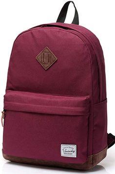 Vaschy Unisex Classic Lightweight Water-resistant Campus School Rucksack  Travel BackPack Burgundy Fits Laptop Backpacks for Teen Girl 7c2b49361befb