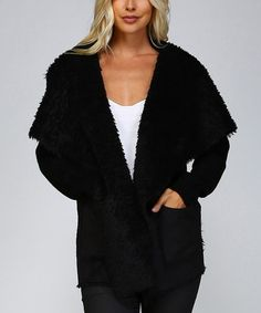 Look what I found on #zulily! Black Furry-Lapel Open Front Cardigan #zulilyfinds
