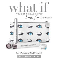 Rodan + Fields  Amazing results in as little as 4 weeks! longer looking, fuller looking and darker looking lashes can be yours. This gift set is available for a limited time. https://www.rodanandfields.com/pages/lash-boost