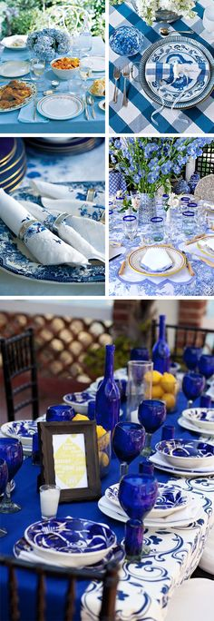 Love the blue idea, or turn for under a white tent,  DICAS Mesa posta azul