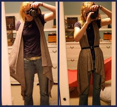 DIY asymmetrical vest, do with fur :) I did this with a fall print turned out wonderful