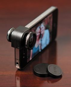 Olloclip iPhone 5 Lens | $70,00 | Turn your iPhone into a professional camera with 10x magnification, a wide-angle lens and fish-eye lens packed into one pocket-size accessory | Made of aircraft-grade aluminum