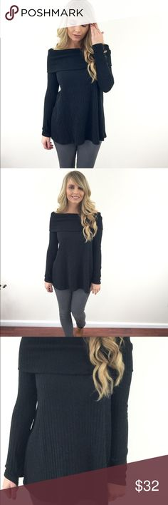 Black off shoulder top This top features an off the shoulder collar, and long sleeves. We love this top paired with skinny jeans and booties.  -92% polyester   -8% spandex  -wearing size small Tops Blouses