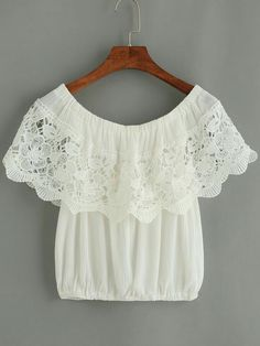 Shop White Crochet Trim Off The Shoulder Top online. SheIn offers White Crochet Trim Off The Shoulder Top & more to fit your fashionable needs. Boho Fashion, Girl Fashion, Fashion Outfits, Fashion Design, Blouse Styles, Blouse Designs, Casual Outfits, Cute Outfits, Estilo Boho