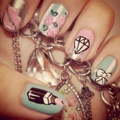 Nail designs for short nails are always a popular choice among those who wish to keep their nails short, neat, tidy and yet desire to look trendy and fashionable. Indeed, having short nails are . Get Nails, Love Nails, How To Do Nails, Pretty Nails, Hair And Nails, Sassy Nails, Dream Nails, Nail Diamond, Diamond Bows