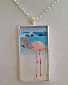 Pink Flamingo Pendant Necklace by joytoyou41 on Etsy, $30.00
