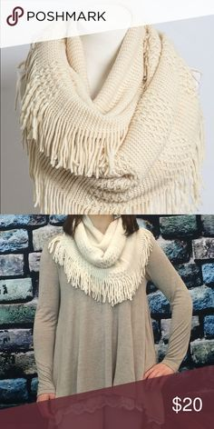 "Pointelle Fringe Infinity Scarf Ivory. Mix knit infinity scarf. 100% acrylic! 29"" by 19"" Accessories Scarves & Wraps"