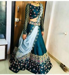 7c79ba7ebddb2 Blue Embroidered Satin Silk Semi Stitched Lehenga Choli with Matching Color  unstiched blouse. It contained the Embroidered work with inner.