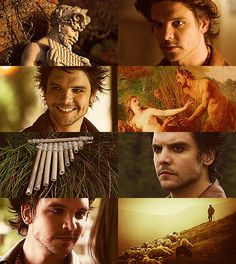 """dragonfiretwistedwire: """" Greek Mythology Dreamcast - Andrew-Lee Potts as Pan Through wooded glades he wanders with dancing Nymphai who foot it on some sheer cliff's edge, calling upon Pan, the..."""