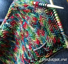 Твид спицами, вязаный шарф-снуд