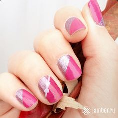 """Another one of discontinued """"Pretty in Pink"""" paired with """"Joyful Holiday."""" So bright and pretty. From Insta account @jamberry"""