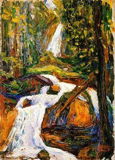 'Kochel - Waterfall I', Peinture de Wassily Kandinsky (1866-1944, Russia)