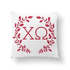 "Chi Omega Wreath Pillow - 10"" or 16"" - Sorority Pillow, Big Little Gift, Sorority Life, Dorm Decor by Sororitee on Etsy https://www.etsy.com/listing/202487599/chi-omega-wreath-pillow-10-or-16"