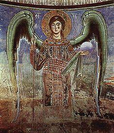 Detail of wall painting in the church of S. Angelo in Formis,  late 11th or early 12th century angel