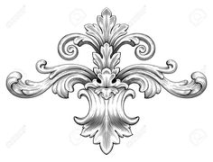Vintage Baroque Frame Leaf Scroll Floral Ornament Engraving Border ...
