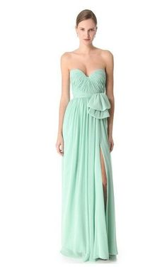 Mint Long Chiffon Bridesmaid Dress