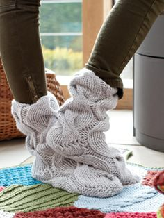 knitting slippers - free patterns | These cosy, slipper socks will keep you toes warm in the Winter months ...