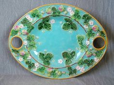 George-Jones-Majolica-strawberry-server