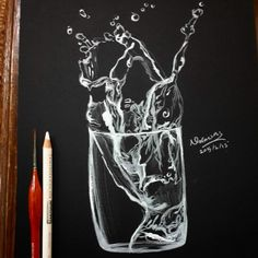 My drawing for water in glass on black paper Pencil Sketches Easy, Pencil Art Drawings, Art Drawings Sketches, Colored Pencil Artwork, Color Pencil Art, Astronaut Drawing, Black Paper Drawing, Black And White Sketches, Scratch Art