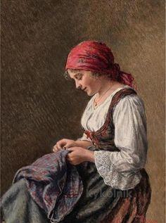 Hans Hamza «Girl Sewing»