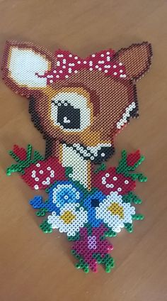 Deer with flowers – Perlen – Hama Beads Perler Bead Designs, Perler Bead Templates, Hama Beads Design, Diy Perler Beads, Pearler Bead Patterns, Perler Bead Art, Perler Patterns, Quilt Patterns, Loom Patterns