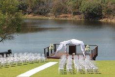 Begin with an exclusive printed white carpet in your ceremony with white tiffany chairs.....
