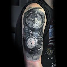 Guys Upper Arms Black And White Compass And Clock Tattoo