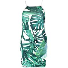Boohoo Krishna Palm Print Strappy Bodycon Dress ($24) ❤ liked on Polyvore featuring dresses, green dress, palm print dress, green body con dress, boohoo dresses and palm tree print dress
