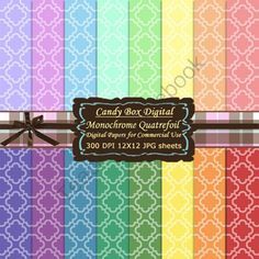 Monochrome Quatrefoil Moroccan Tile Digital Background Papers from Candy Box Digital on TeachersNotebook.com -  (16 pages)  - These are sixteen monochrome quatrefoil digital papers in a rainbow of colors.