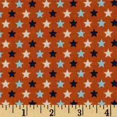 Riley Blake Rocket Age Stars Orange from @fabricdotcom  Designed by October Afternoon, this cotton print fabric is perfect for quilting, apparel and home decor accents. Colors include light and dark blue, cream and orange.