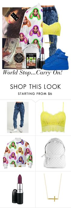 """World Stop...Carry On"" by royal-t-1 ❤ liked on Polyvore featuring Stampd, NIKE, MAC Cosmetics, Argento Vivo and Michael Kors"